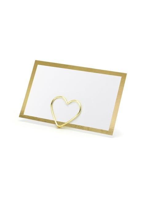 10 étiquettes porte-noms blanches avec bord doré en papier