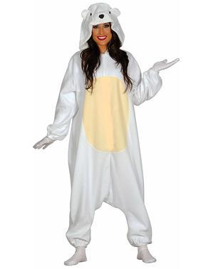 Disfraz de oso polar amoroso onesie para adulto