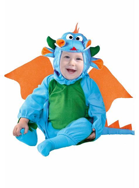 Drachen Kostüm blau für Babys