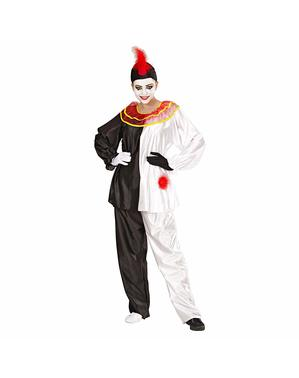 Mime artist clown costume for an adult