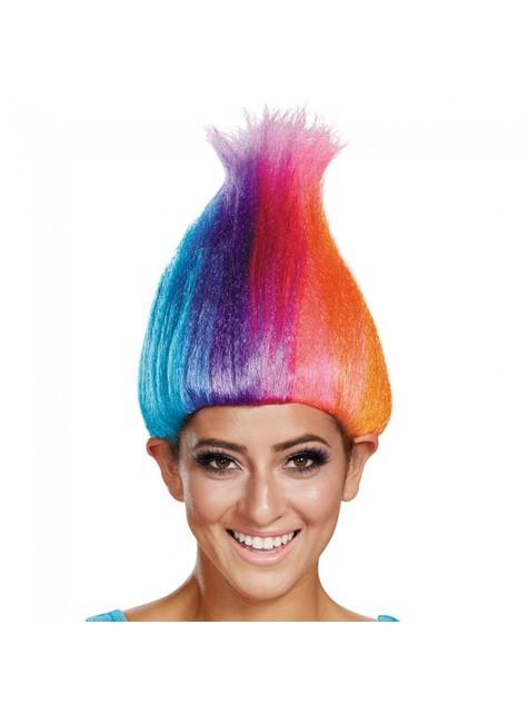 Peruca de Trolls multicolor para adulto