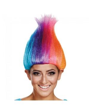 Parrucca di Trolls multicolor per adulto