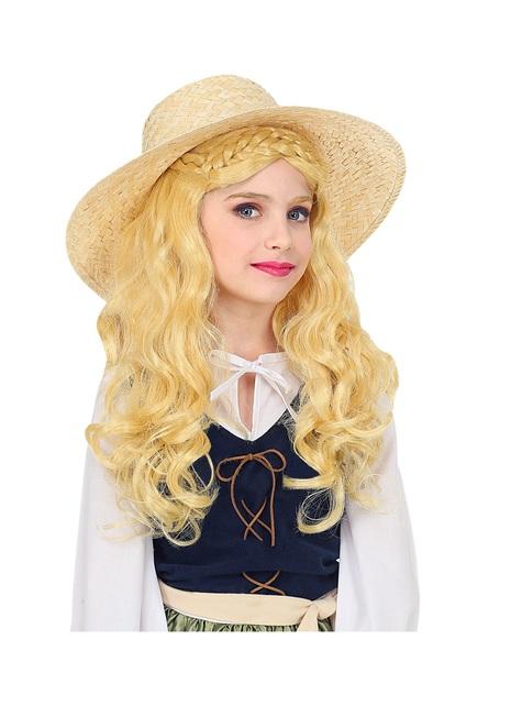 Blonde middeleeuwse dame pruik voor meisjes
