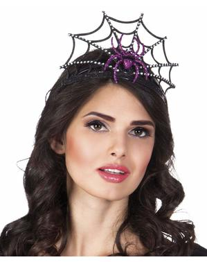Black spider queen headband for women