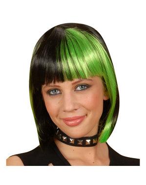 Peruk svart med gröna slingor för henne