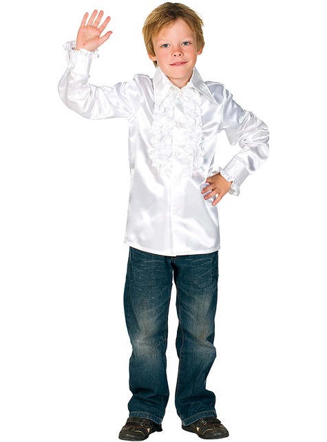 70er Jahre Disco Hemd weiß für Kinder