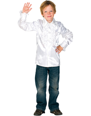 White 70's disco shirt for kids
