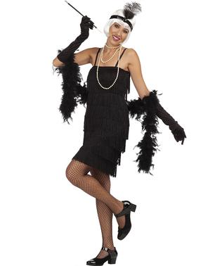 Grote maat Zwart jaren 20 Charleston kostuum