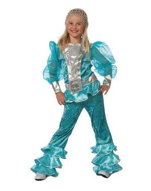 Blått Mamma Mia kostyme til jenter - Abba