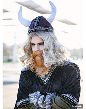 Barba e bigode ruivas viking para adulto