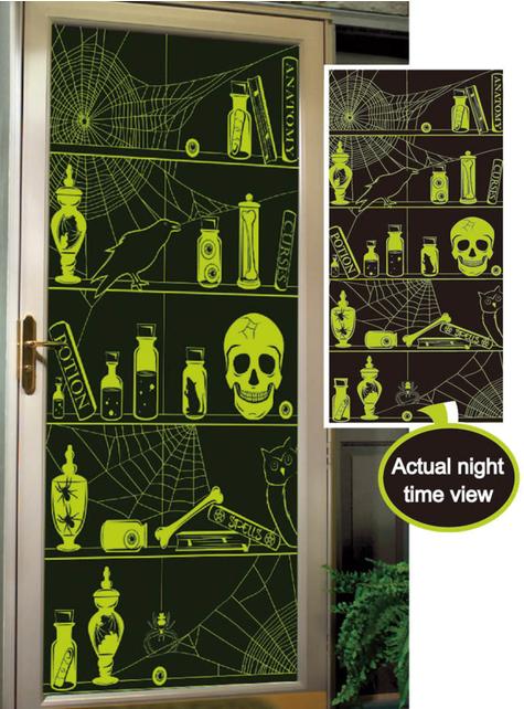 Decoração para porta caveiras fluorescentes