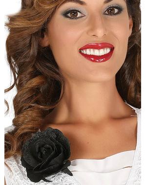 Schwarze Rose mit Klipp