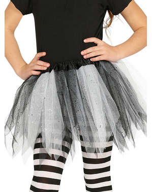Tutu alb cu negru cu sclipici pentru fată