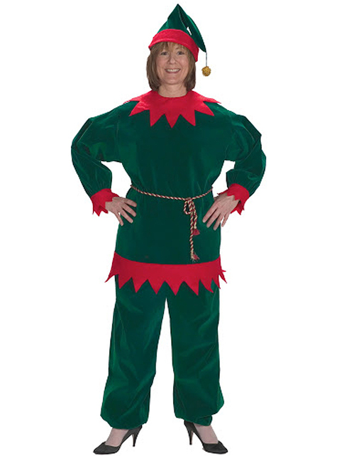 Disfraz de elfo navideño tradicional para adulto