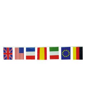 Guirlande med store internationale flag 50 m.