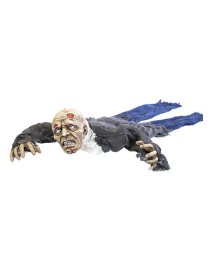 Decoratief figuur van een gesleepte zombie met licht, geluid en beweging (140 cm)