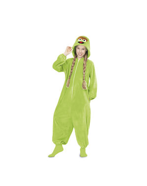 Oscar Mopperkont uit Sesamstraat Onesie Kostuum voor kinderen