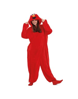 Disfraz de Elmo Barrio Sésamo onesie básico para adulto
