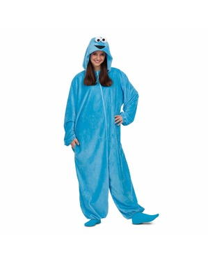 Cookie Monster from Sesame Street Onesie Costume for Adults