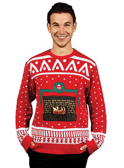 Knitted Crackling Fireplace Christmas jumper