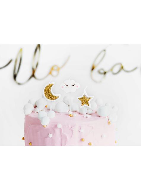 5 velas de nubes y estrellas (2-3 cm) - Little Star