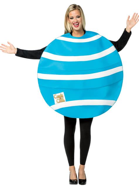 Candy Crush blåt og hvidt bolsjekostume til voksne