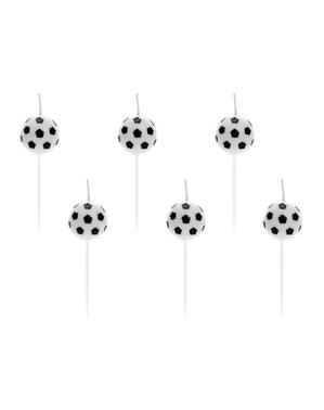 6 velas de bolas de futebol (2,5cm) - Football Party