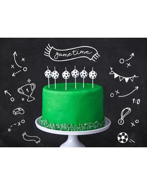 6 Jalkapallo Kynttilää (2.5cm) - Football Party