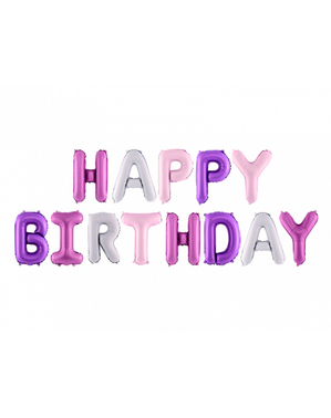 Happy Birthday Balloons in Assorted Shades of Purple (340 cm) - Celebration Party
