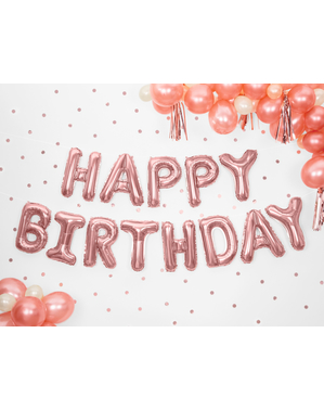 Happy Birthday Balloons in Assorted Shades of Pink (340 cm) - Celebration Party
