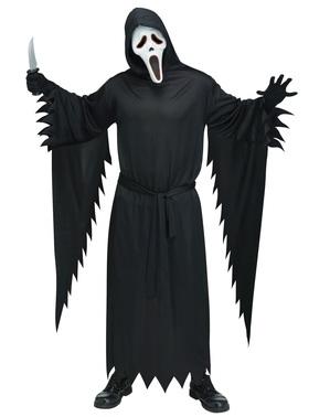 Fato de Ghost Face com máscara com luz para homem tamanho grande