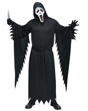 Ghost Face Kostüm mit Maske und Beleuchtung für Herren in großer Größe