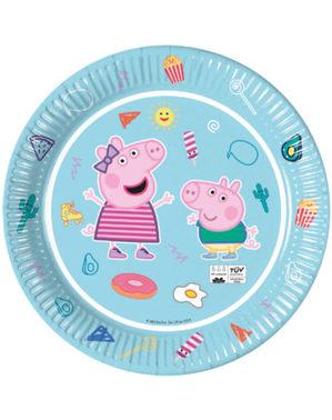 8 pratos de Peppa Pig (23 cm)