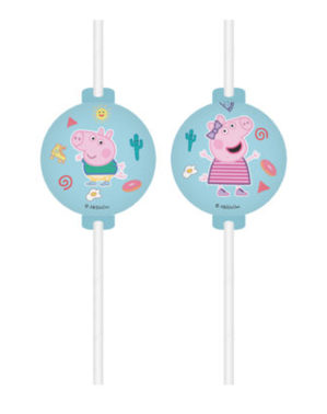 6 pailles Peppa Pig