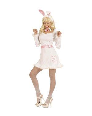 Fato de coelhinha branca sexy para mulher