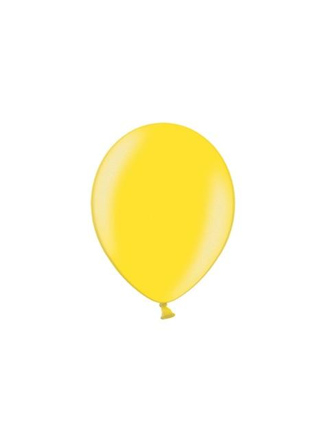 10 globos extra resistentes amarillo claro metalizados (30 cm)