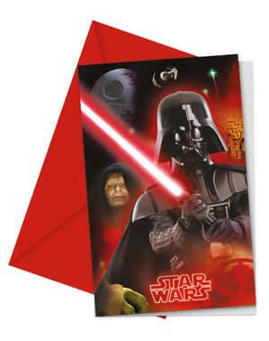 Sett med 6 Star Wars & helter invitasjoner