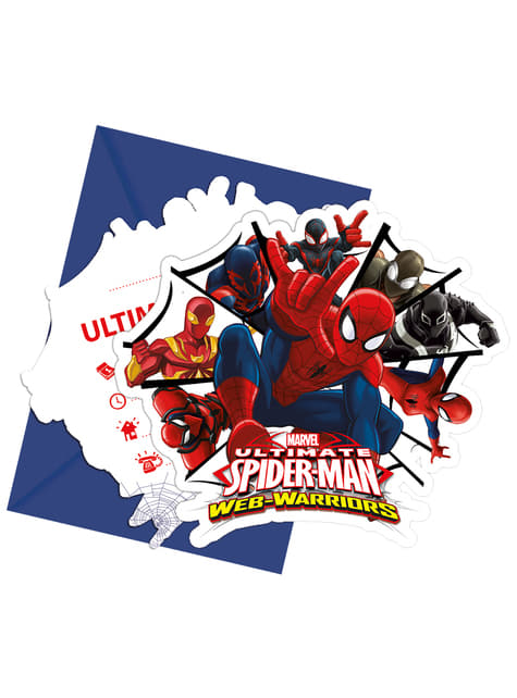 6 invitaciones Ultimate Spiderman Web Warriors