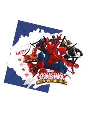 Sett med 6 Ultimate Spiderman Web Warriors Invitasjoner