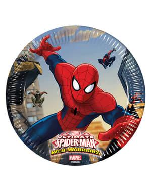 Sett med 8 Ultimate Spiderman Web Krigere 20cm Tallerkener