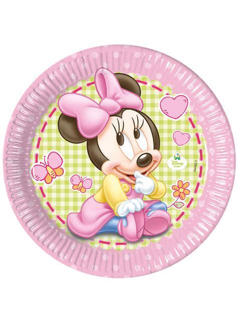 8 platos Minnie Mouse (23cm) - Baby Minnie