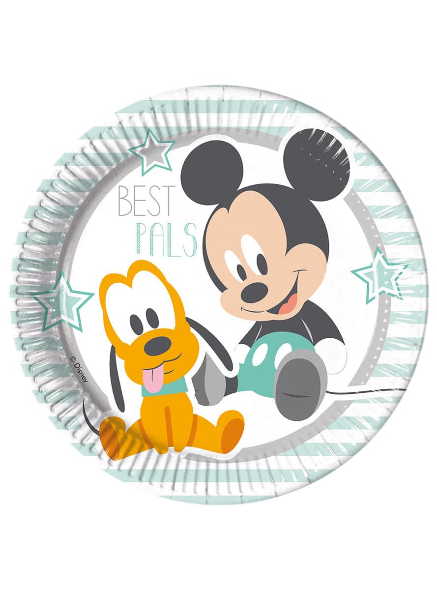 Set de 8 platos infant mickey comprar online en funidelia for Set de platos
