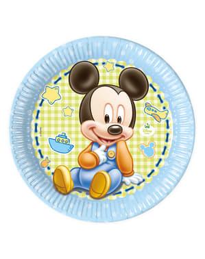 Sada 8 plastových tanierov Baby Mickey 23 cm