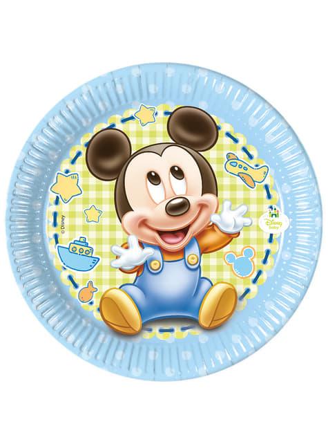 Conjunto de 8 pratos Baby Mickey 20 cm