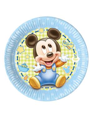 Sett med 8 Mickey 20cm Tallerken