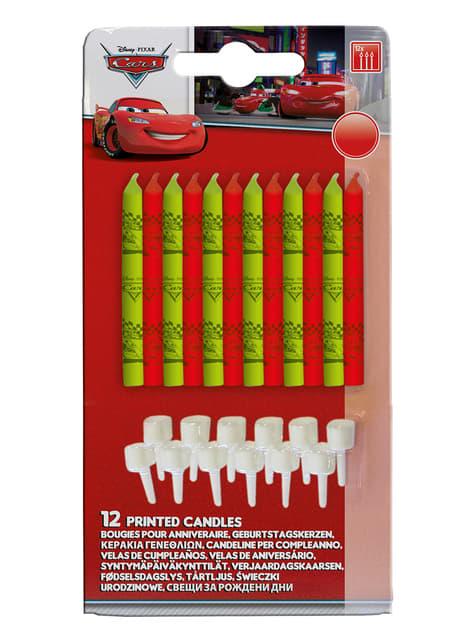 12 velas y 12 peanas Cars Neon (10 cm) - para tus fiestas