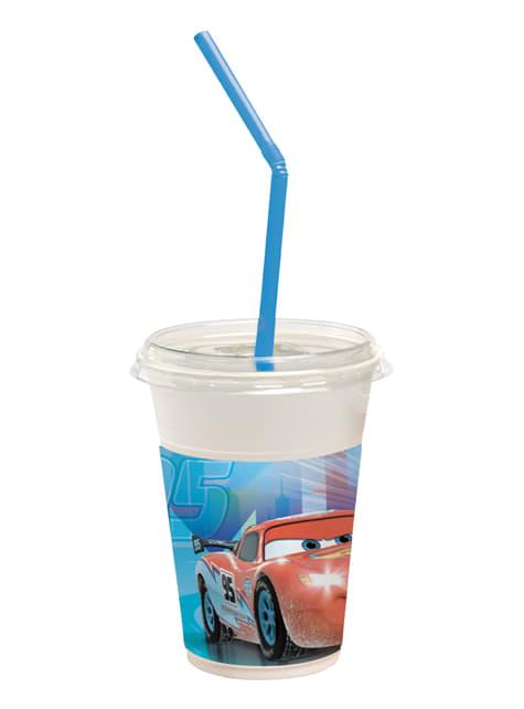 Set de 12 vasos con pajitas Cars Ice