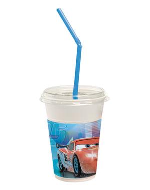 Conjunto de 12 copos com palhinhas Cars Ice Racers