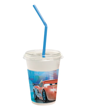 Set of 12 Cars Ice Cups with Straws