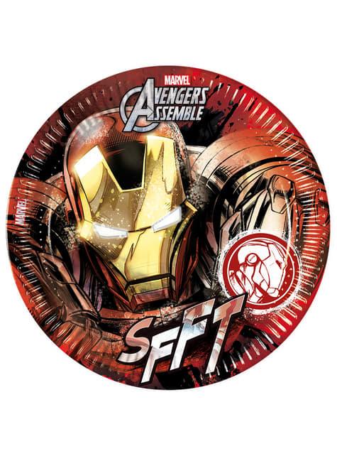8 Iron Man Teen Avengers Plates (23cm) - Avengers Team